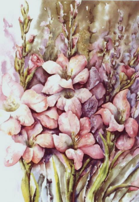 Fresh Gladiolas Print by Marta Styk