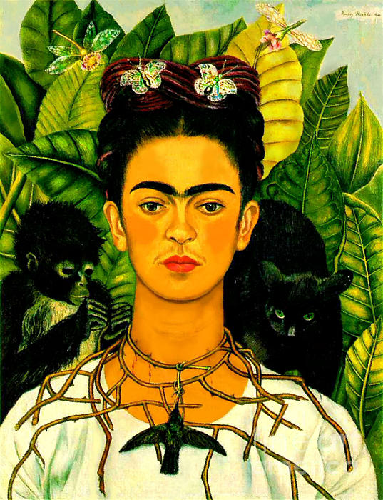 Frida Kahlo Self Portrait With Thorn Necklace And Hummingbird Print by Pg Reproductions