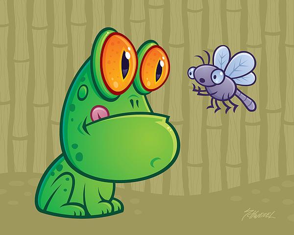 Frog And Dragonfly Print by John Schwegel