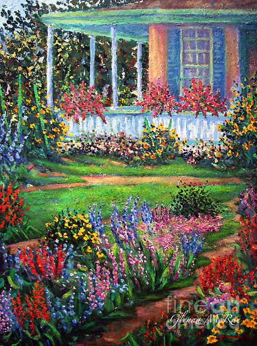 Front Porch And Flower Gardens Print by Glenna McRae