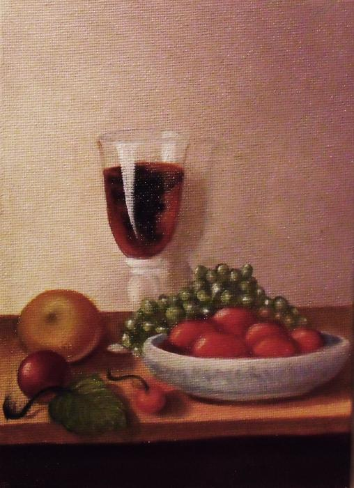 Fruit  And  Wine   A Print by Helen Thomas
