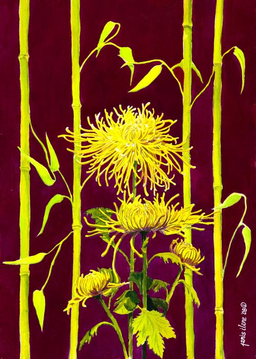 Fuji Mums And Bamboo Print by Janis Grau