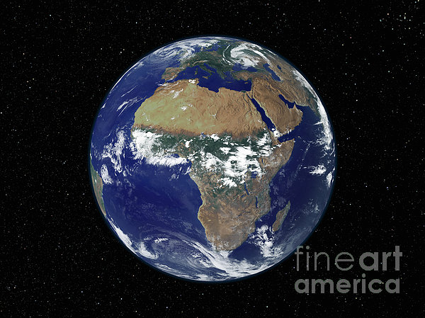 Full Earth Showing Africa And Europe Print by Stocktrek Images