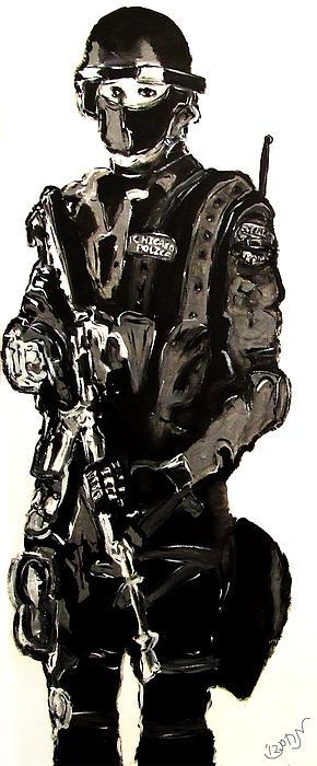 Full Length Figure Portrait Of Swat Team Leader Alpha Chicago Police In Full Uniform With War Gun Print by M Zimmerman MendyZ