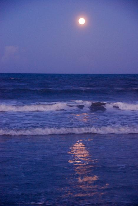 Full Moon Over The Ocean Print by Susanne Van Hulst