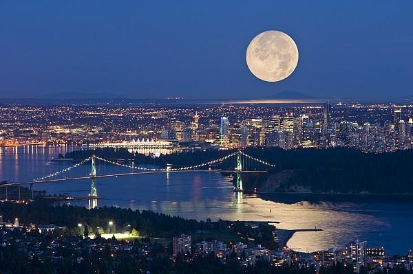 Full Moonrise Over Vancouver, British Print by David Nunuk