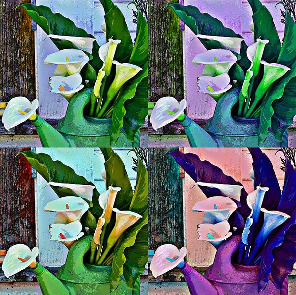 Funky Calla Lilies Print by Fraida Gutovich