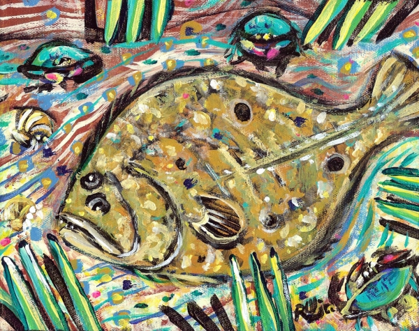 Funky Folk Flounder Print by Robert Wolverton Jr