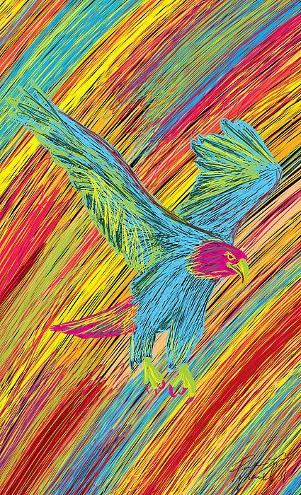 Furious Bold Bald Eagle Print by Kenal Louis