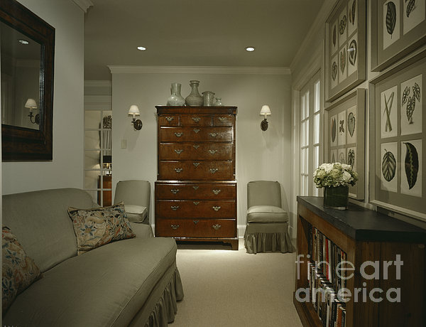 Furniture In Upscale Home Print by Robert Pisano