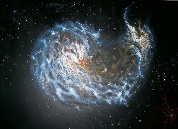 Galaxies Merging. Print by Giovanni Santostasi