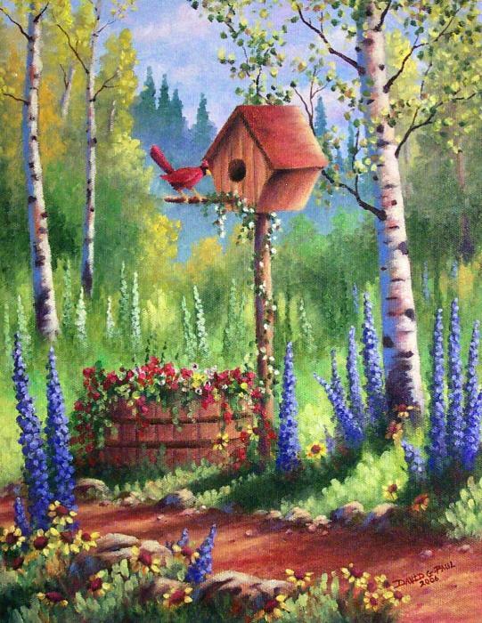 Garden Birdhouse Print by David G Paul