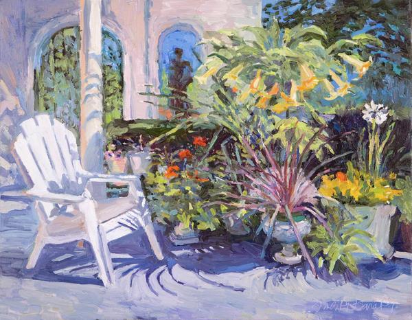 Garden Chair In The Patio Print by Judith Barath