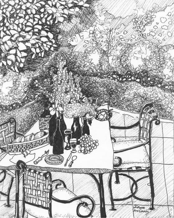 Garden Table Print by Jo Anna McGinnis