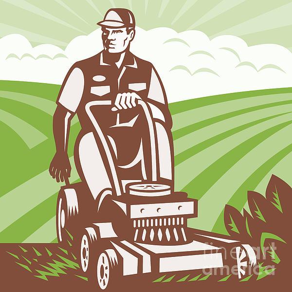 Gardener Landscaper Riding Lawn Mower Retro Print by Aloysius Patrimonio