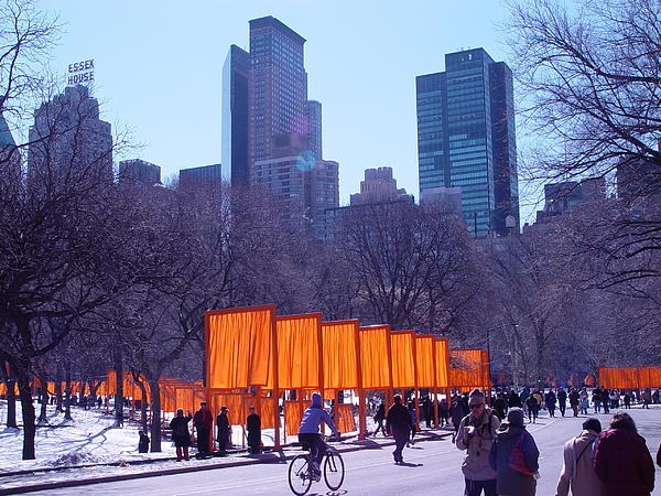Gates And Snow In Central Park Print by Alton  Brothers