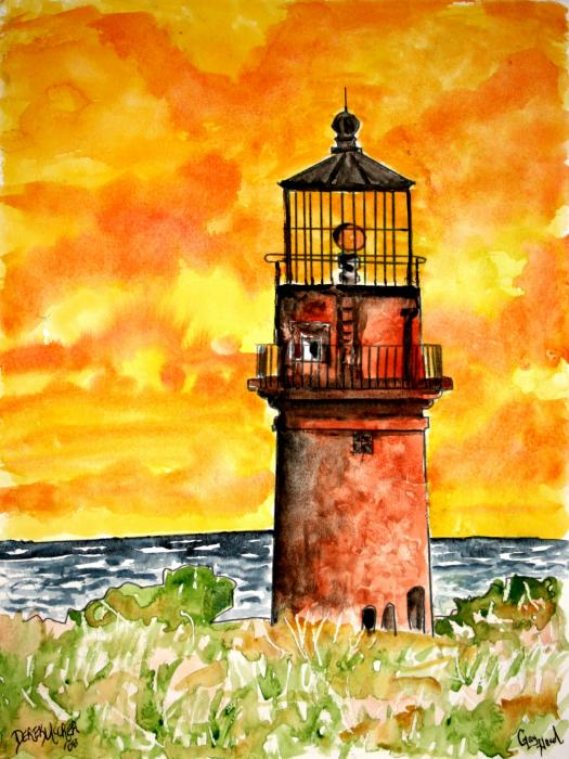 Gay Head Lighthouse Marthas Vineyard Painting