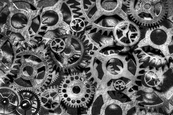 Gears Of Time Black And White Print by David Paul Murray