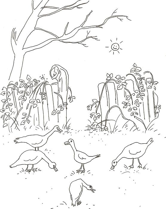 Geese In The Garden Print by Vass Eva Rozsa