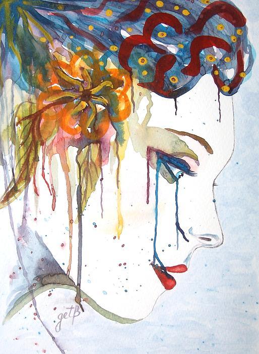 Georgeta  Blanaru - Geisha Soul watercolor painting