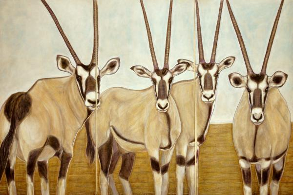 Gemsboks Or 0ryxs Triptych Painting