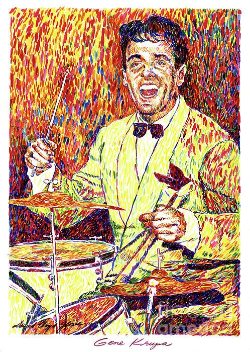 Gene Krupa The Drummer Print by David Lloyd Glover