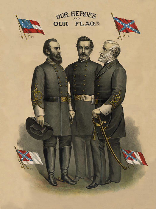 Generals Jackson Beauregard And Lee Print by War Is Hell Store