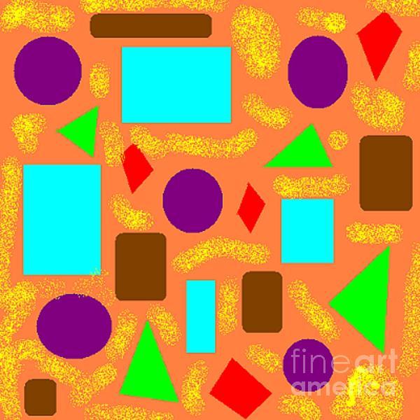 Geometric Abstract- Orange Print by Jeannie Atwater Jordan Allen