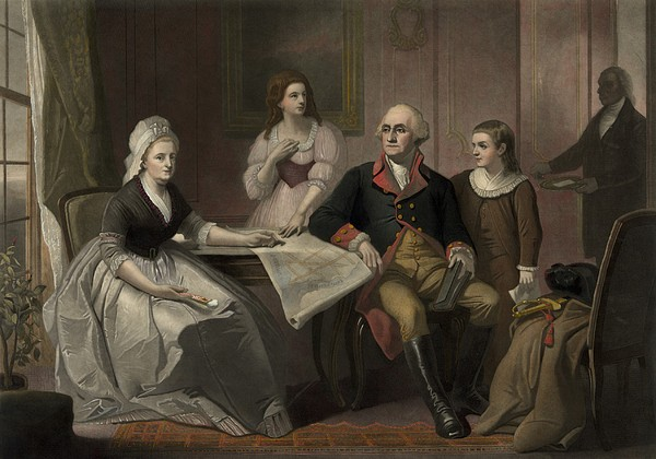 George And Martha Washington Sitting Print by Everett