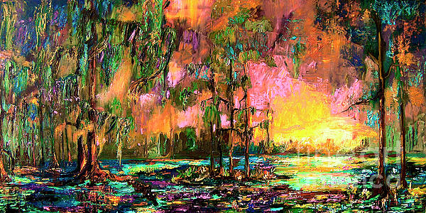 Georgia Landscape Okefenokee Sunset  Print by Ginette Callaway