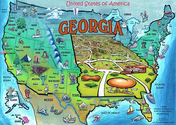georgia usa map: