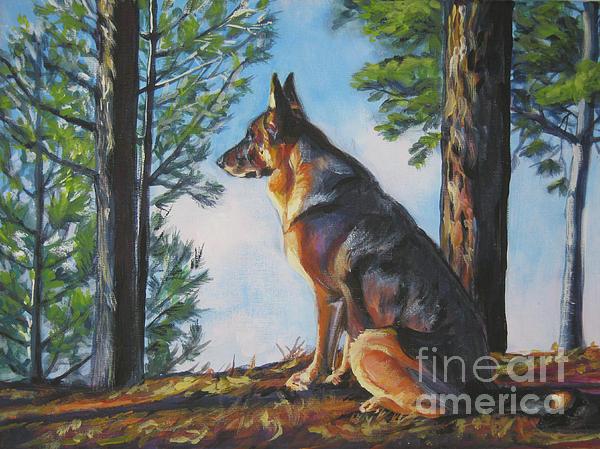 German Shepherd Lookout Print by Lee Ann Shepard