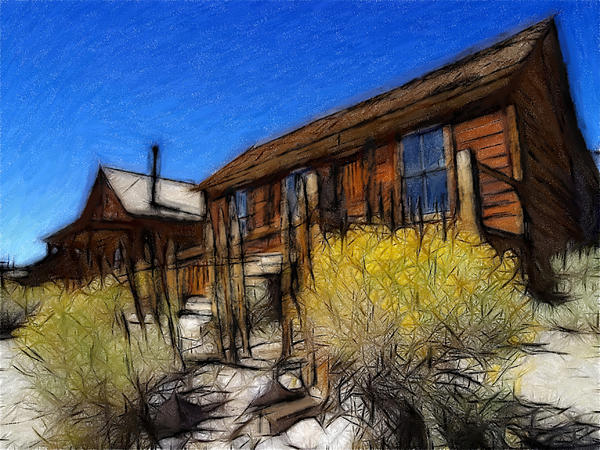 Ghost Town Bodie Pastel Print by Stefan Kuhn