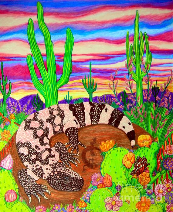 Gila Monster In Desert Print by Nick Gustafson