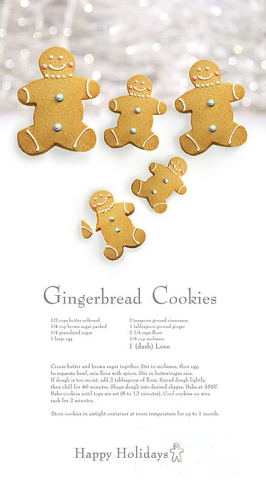 Gingerbread Men Cookies Against Cookie Receipe Print by Sandra Cunningham
