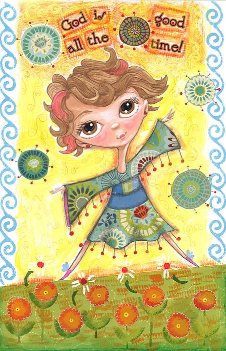 Girl In Field Of Flowers Print by Jacquelin Vanderwood
