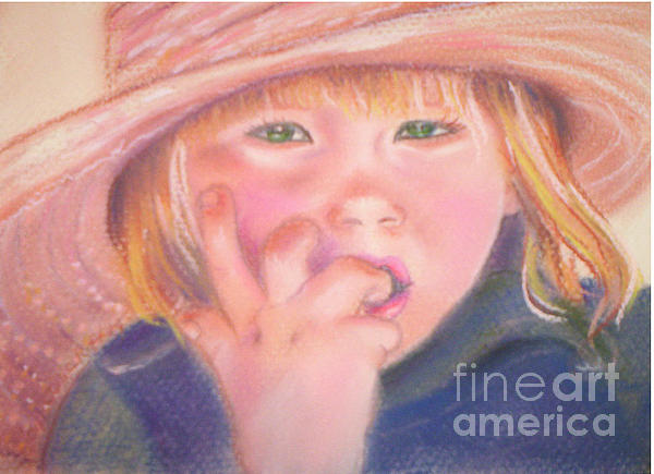 Girl In Straw Hat Print by Julie Brugh Riffey