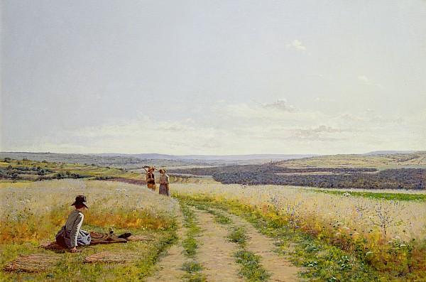 Girl In The Fields   Print by Jean F Monchablon