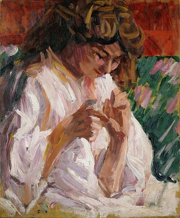 Girl Mending Print by Roderic OConor