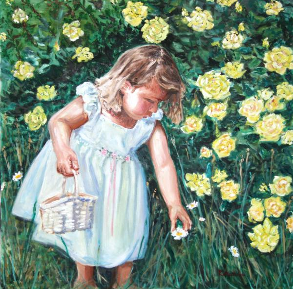 Girl Picking Flowers Painting by Suzanne Frie - Girl Picking ...