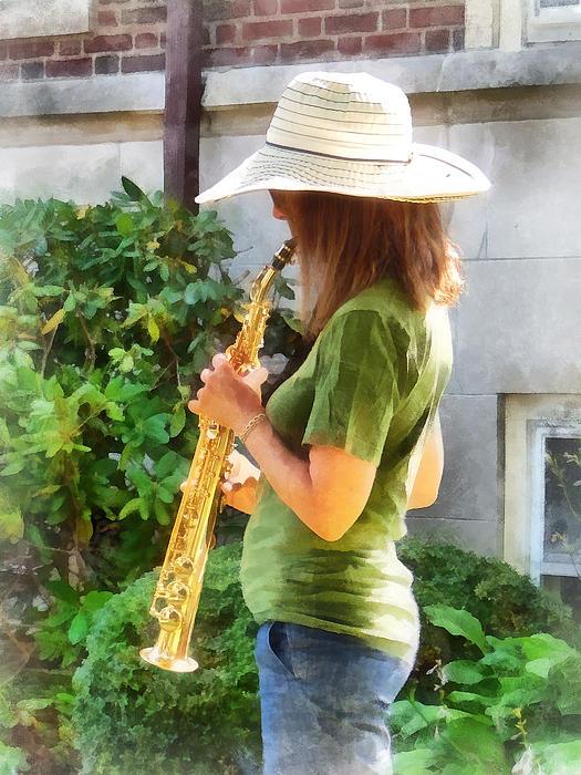Girl Playing Saxophone Print by Susan Savad