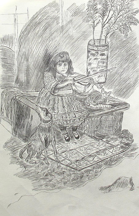 Girl Playing Violin Print by Yuriy Mkhitaryants