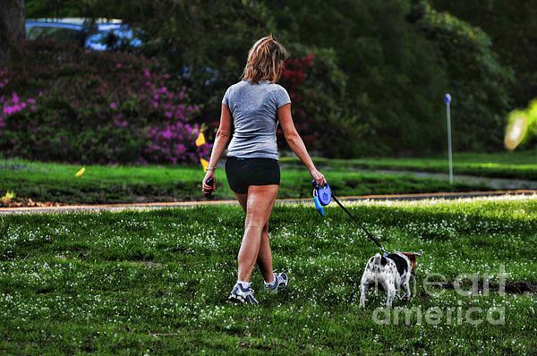 Girl Walking Dog Print by Paul Ward