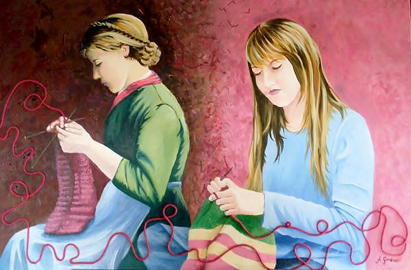 Anne Gardner - Girls knitting