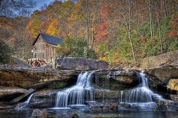Glade Creek Grist Mill At Babcock Print by Williams-Cairns Photography LLC
