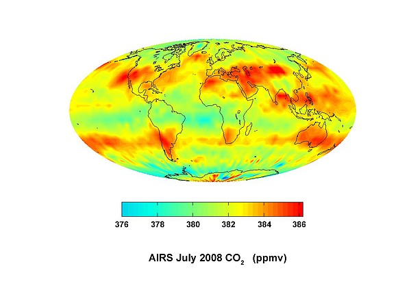 Global Carbon Dioxide Transport, 2008 Print by Nasajpl