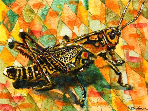 Glorious Grasshopper Print by Miriam  Schulman
