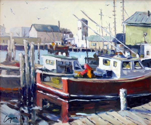 Gloucester Harbor And The Birdseye Tower Print by Chris Coyne
