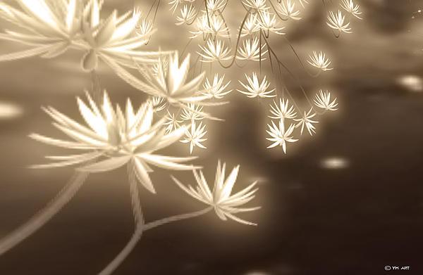Glowing Flower Fractals Print by Yvon van der Wijk