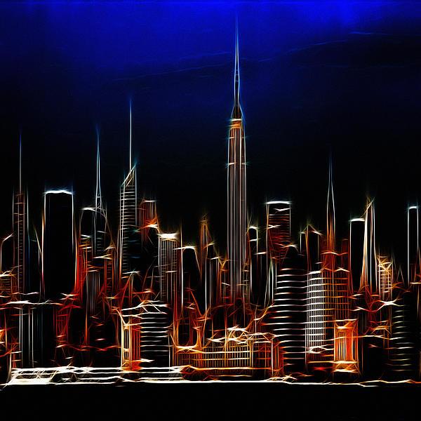 Glowing New York Print by Stefan Kuhn